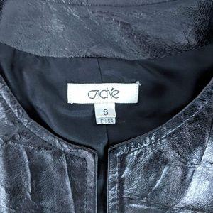 Cache Jackets & Coats - Cache Black Leather 3/4 Zip Jacket Sz 6
